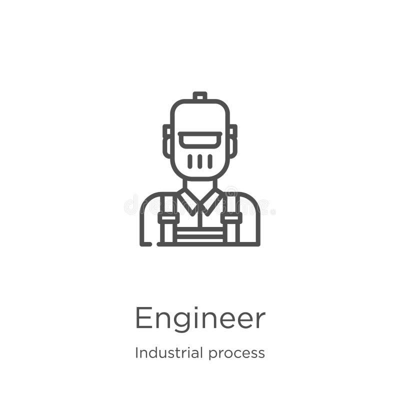 vector del icono del ingeniero de la colección del proceso industrial Línea fina ejemplo del vector del icono del esquema del ing libre illustration