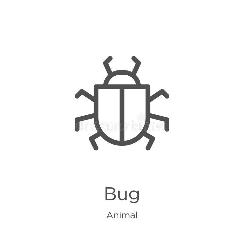 vector del icono del insecto de la colección animal L?nea fina ejemplo del vector del icono del esquema del insecto Esquema, líne ilustración del vector