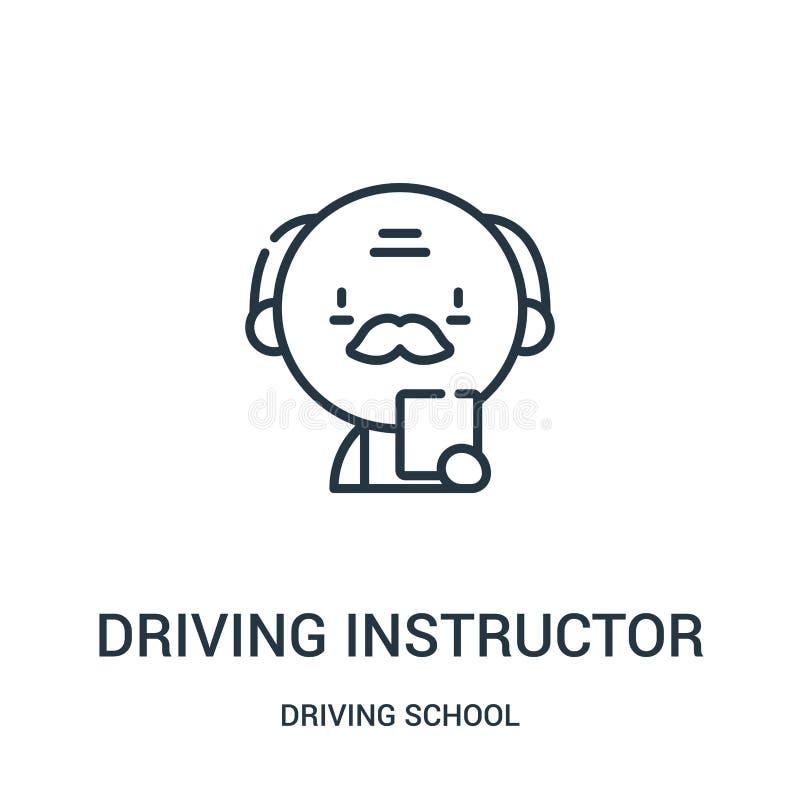 vector del icono del instructor de conducción de la colección de la escuela de conducción Línea fina ejemplo del vector del icono stock de ilustración