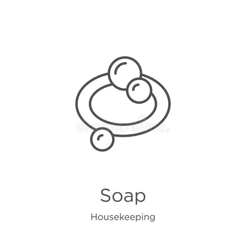 vector del icono del jabón de la colección de la economía doméstica Línea fina ejemplo del vector del icono del esquema del jabón stock de ilustración