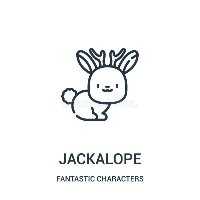 vector del icono del jackalope de la colección fantástica de los caracteres Línea fina ejemplo del vector del icono del esquema d ilustración del vector