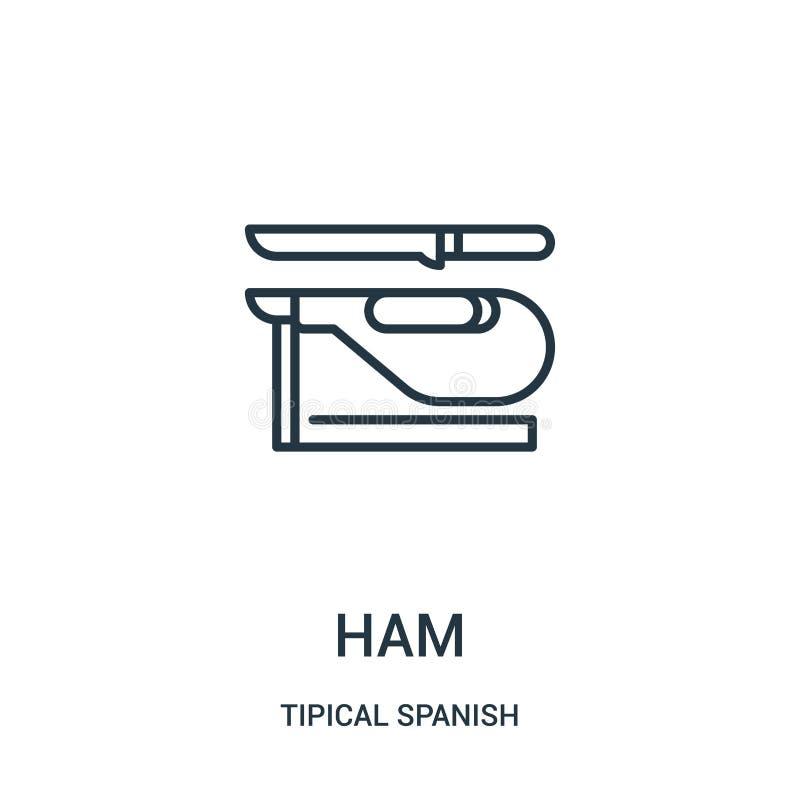 vector del icono del jamón de la colección española tipical Línea fina ejemplo del vector del icono del esquema del jamón Símbolo stock de ilustración
