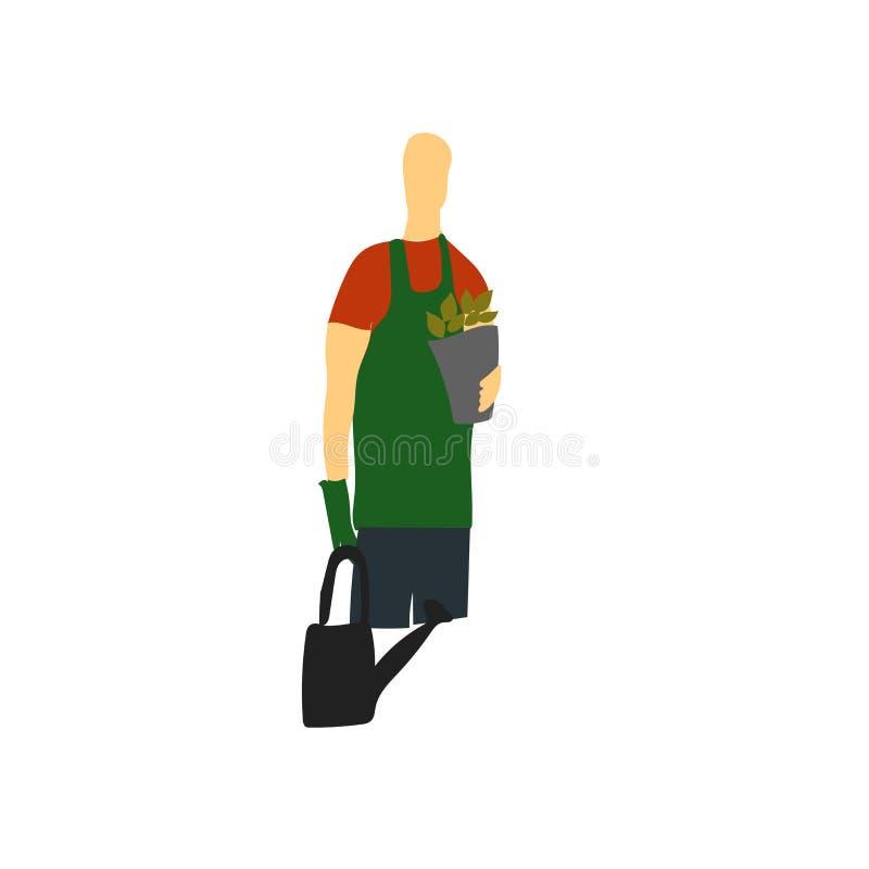 Vector del icono del jardinero aislado en el fondo blanco, muestra del jardinero, colocándose ejemplo humano o de la gente del pe ilustración del vector