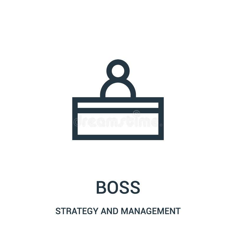 vector del icono del jefe de la estrategia y de la colección de la gestión Línea fina ejemplo del vector del icono del esquema de ilustración del vector