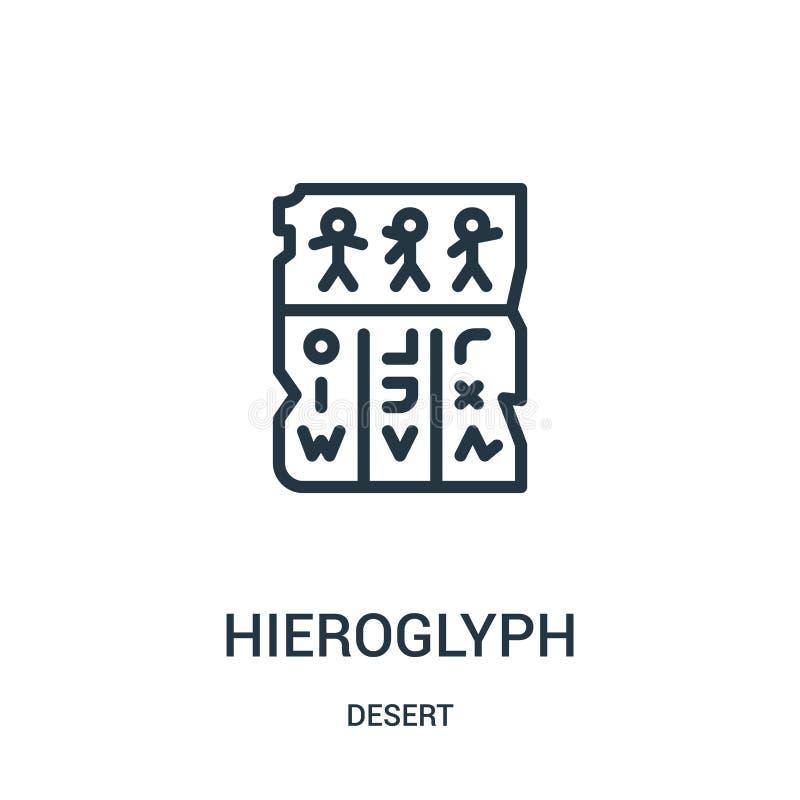 vector del icono del jeroglífico de la colección del desierto Línea fina ejemplo del vector del icono del esquema del jeroglífico ilustración del vector