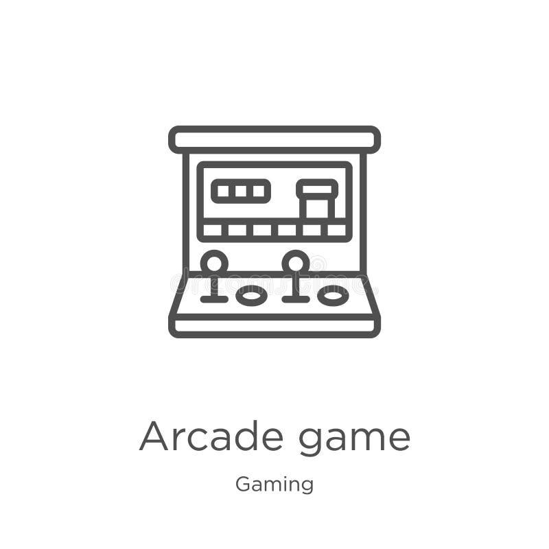 vector del icono del juego de arcada de la colección del juego Línea fina ejemplo del vector del icono del esquema del juego de a ilustración del vector
