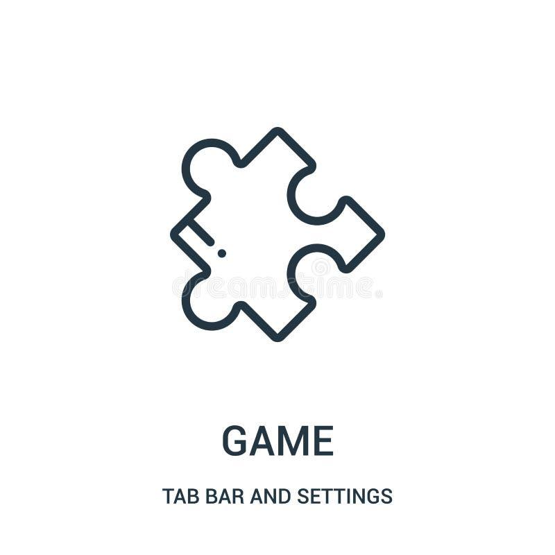 vector del icono del juego de la barra de la etiqueta y de la colección de los ajustes Línea fina ejemplo del vector del icono de ilustración del vector