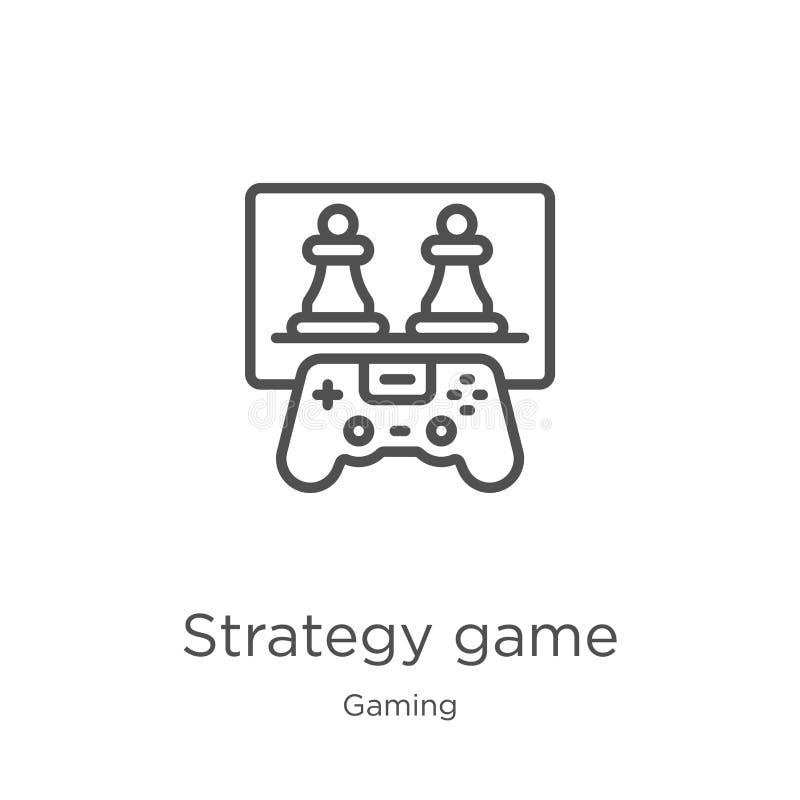 vector del icono del juego de la estrategia de la colección del juego Línea fina ejemplo del vector del icono del esquema del jue stock de ilustración