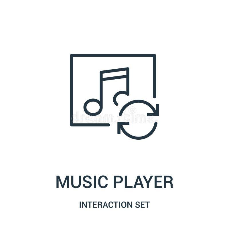 vector del icono del jugador de m?sica de la colecci?n del sistema de la interacci?n L?nea fina ejemplo del vector del icono del  stock de ilustración