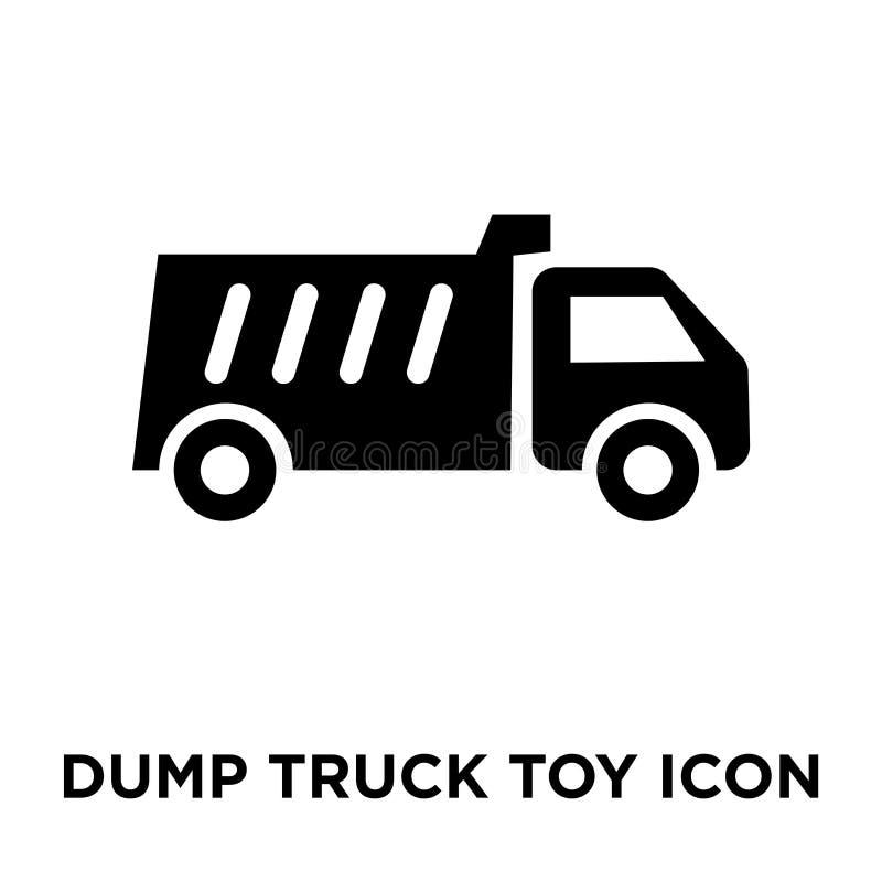 Vector del icono del juguete del camión volquete aislado en el fondo blanco, logotipo co stock de ilustración