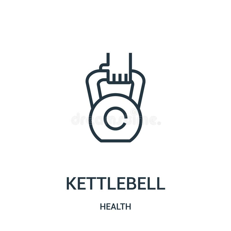 vector del icono del kettlebell de la colección de la salud Línea fina ejemplo del vector del icono del esquema del kettlebell Sí stock de ilustración