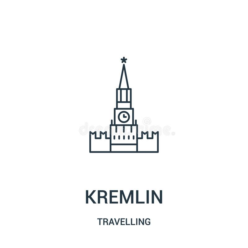 vector del icono del Kremlin de la colección que viaja L?nea fina ejemplo del vector del icono del esquema del Kremlin S?mbolo li stock de ilustración