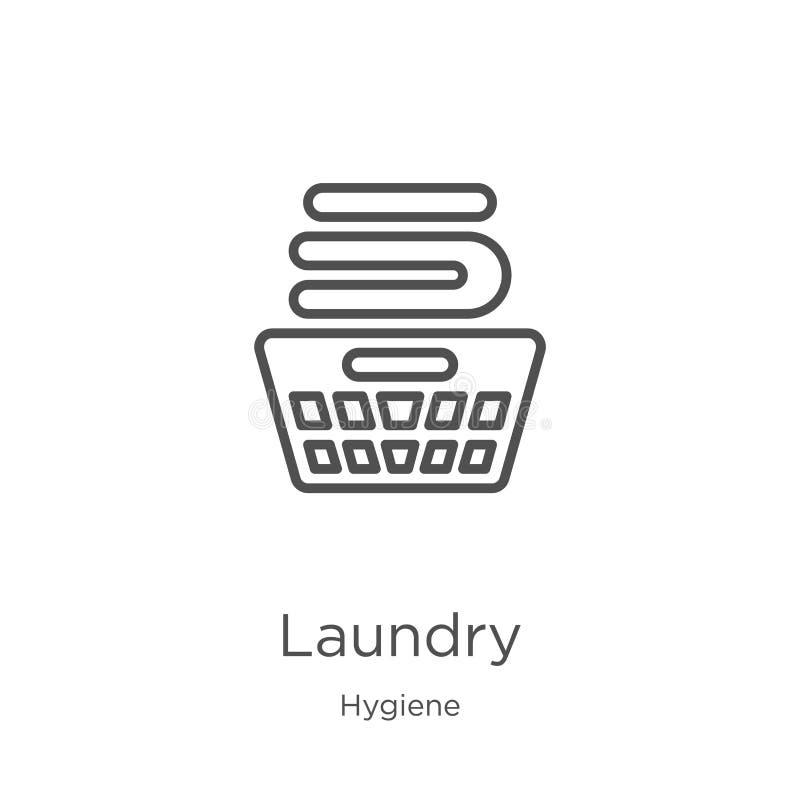 vector del icono del lavadero de la colección de la higiene L?nea fina ejemplo del vector del icono del esquema del lavadero Esqu stock de ilustración