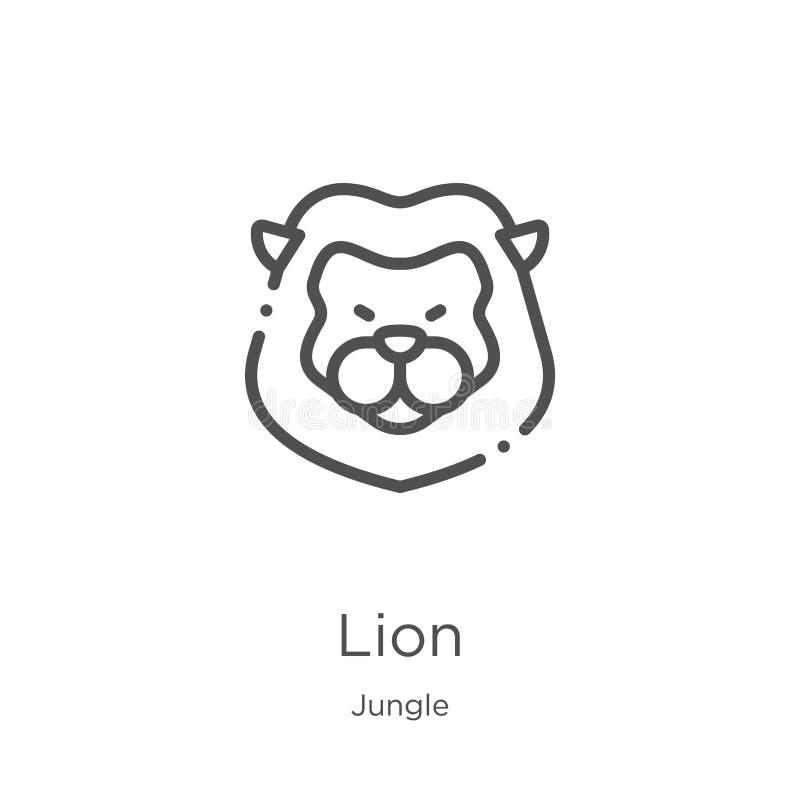 vector del icono del león de la colección de la selva Línea fina ejemplo del vector del icono del esquema del león Esquema, línea ilustración del vector