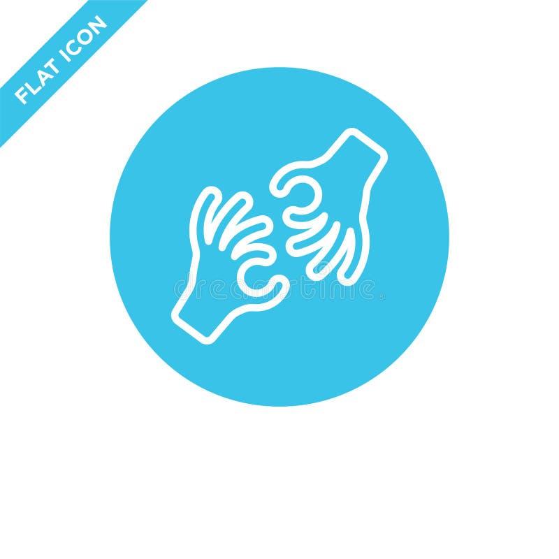 vector del icono del lenguaje de signos de la colección de la accesibilidad Línea fina ejemplo del vector del icono del esquema d libre illustration