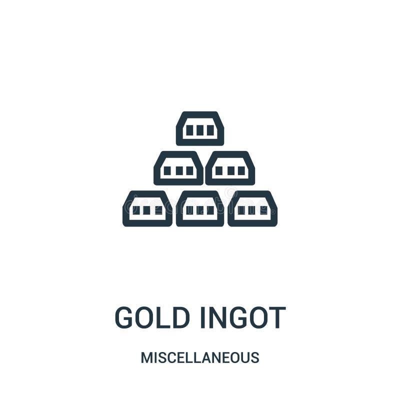 vector del icono del lingote del oro de la colección diversa Línea fina ejemplo del vector del icono del esquema del lingote del  stock de ilustración
