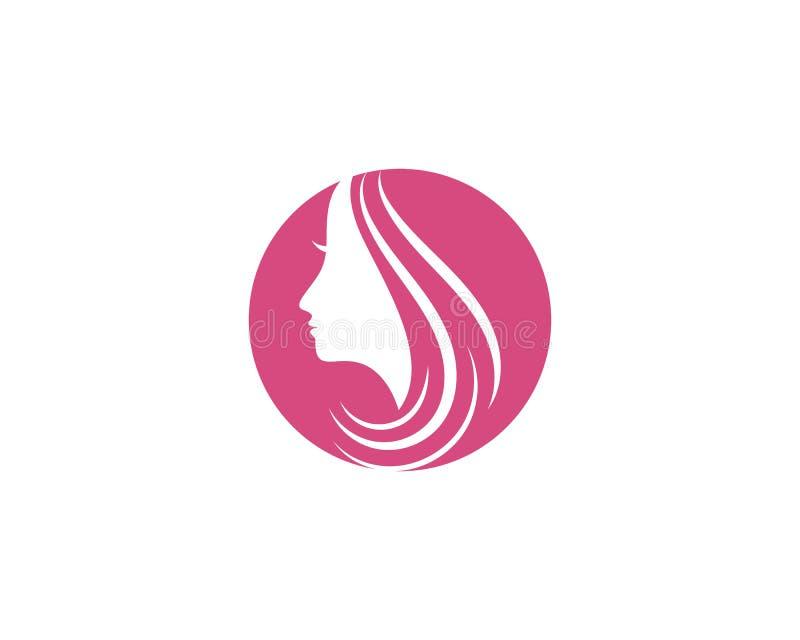 Vector del icono del logotipo del ejemplo del car?cter de la silueta de la cara de la mujer stock de ilustración