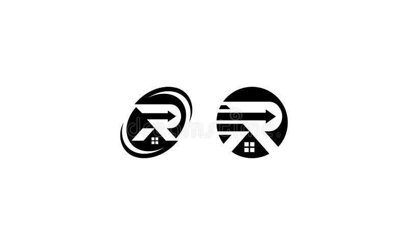 Vector del icono del logotipo del hogar de la inicial R stock de ilustración
