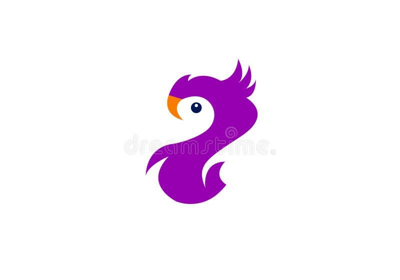Vector del icono del logotipo del pájaro de la cacatúa ilustración del vector