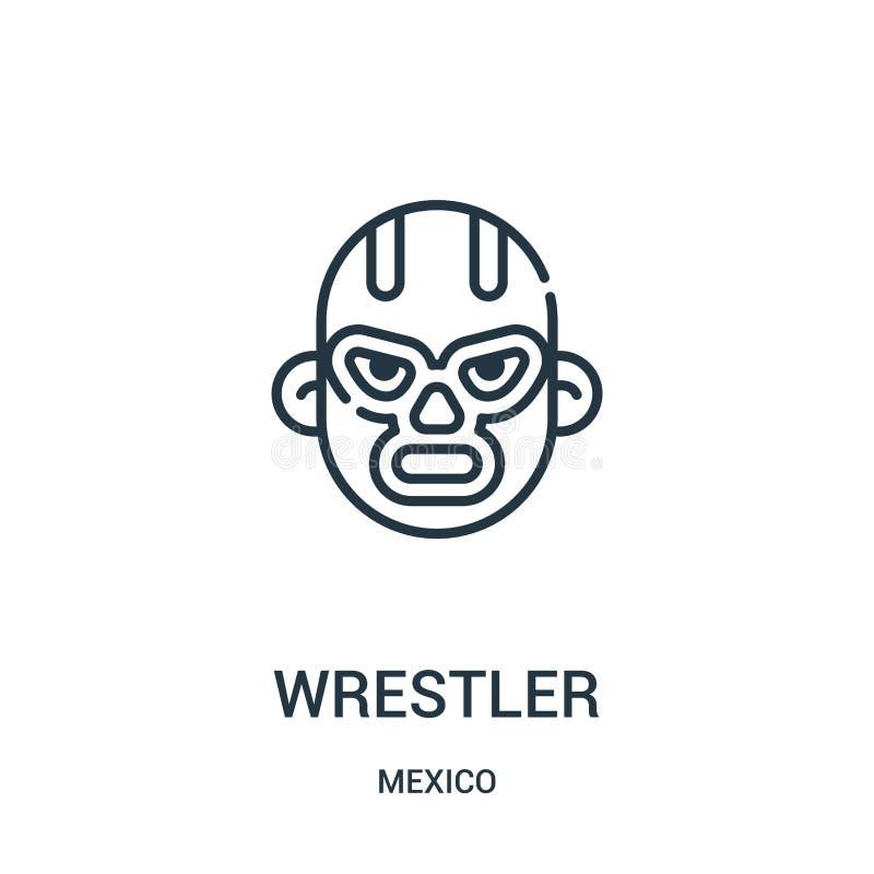 vector del icono del luchador de la colección de México Línea fina ejemplo del vector del icono del esquema del luchador libre illustration
