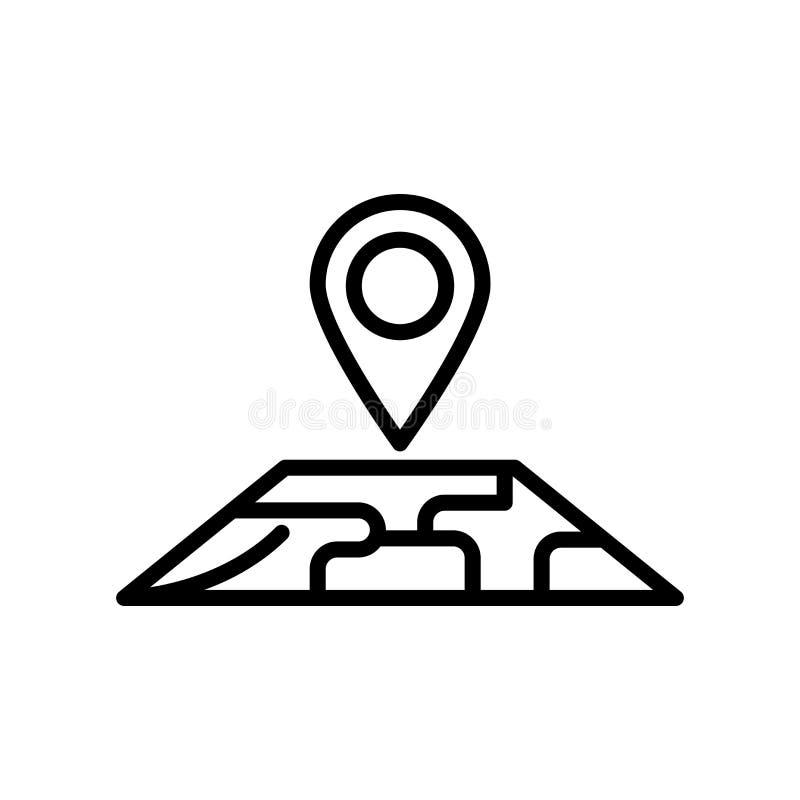 Vector del icono del mapa aislado en el fondo, la muestra del mapa, la línea y los elementos blancos del esquema en estilo linear stock de ilustración