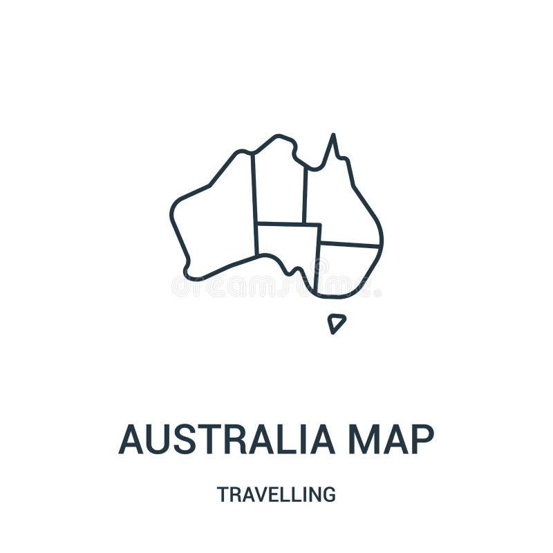 vector del icono del mapa de Australia de la colección que viaja Línea fina ejemplo del vector del icono del esquema del mapa de  ilustración del vector