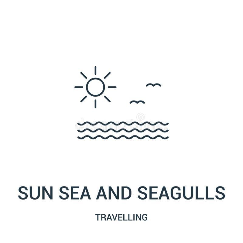 vector del icono del mar y de las gaviotas del sol de la colección que viaja Línea fina mar del sol y ejemplo del vector del icon stock de ilustración