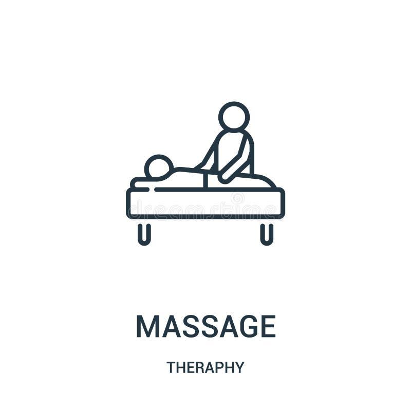 vector del icono del masaje de la colección del theraphy Línea fina ejemplo del vector del icono del esquema del masaje libre illustration