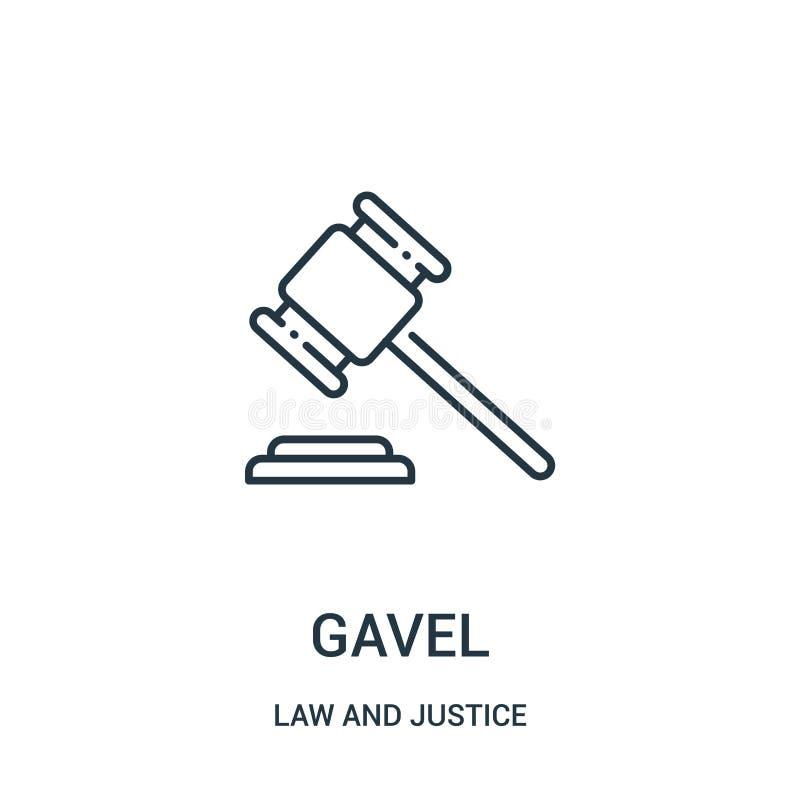 vector del icono del mazo de la colección de la ley y de la justicia Línea fina ejemplo del vector del icono del esquema del mazo stock de ilustración