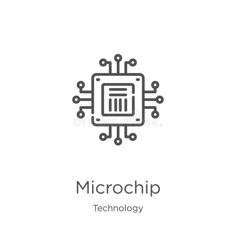 Vector del icono del microchip de la colección de la tecnología L?nea fina ejemplo del vector del icono del esquema del microchip ilustración del vector