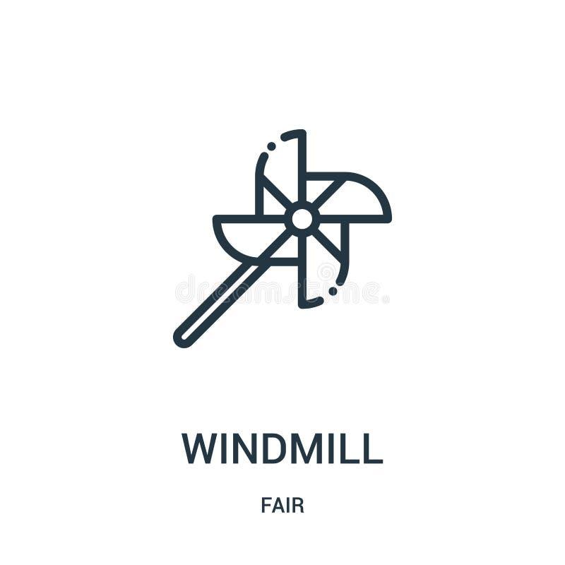 vector del icono del molino de viento de la colección justa Línea fina ejemplo del vector del icono del esquema del molino de vie libre illustration