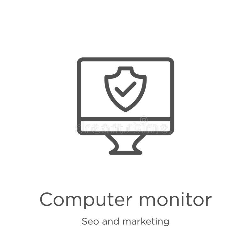 vector del icono del monitor de computadora de la colección del seo y del márketing Línea fina ejemplo del vector del icono del e stock de ilustración