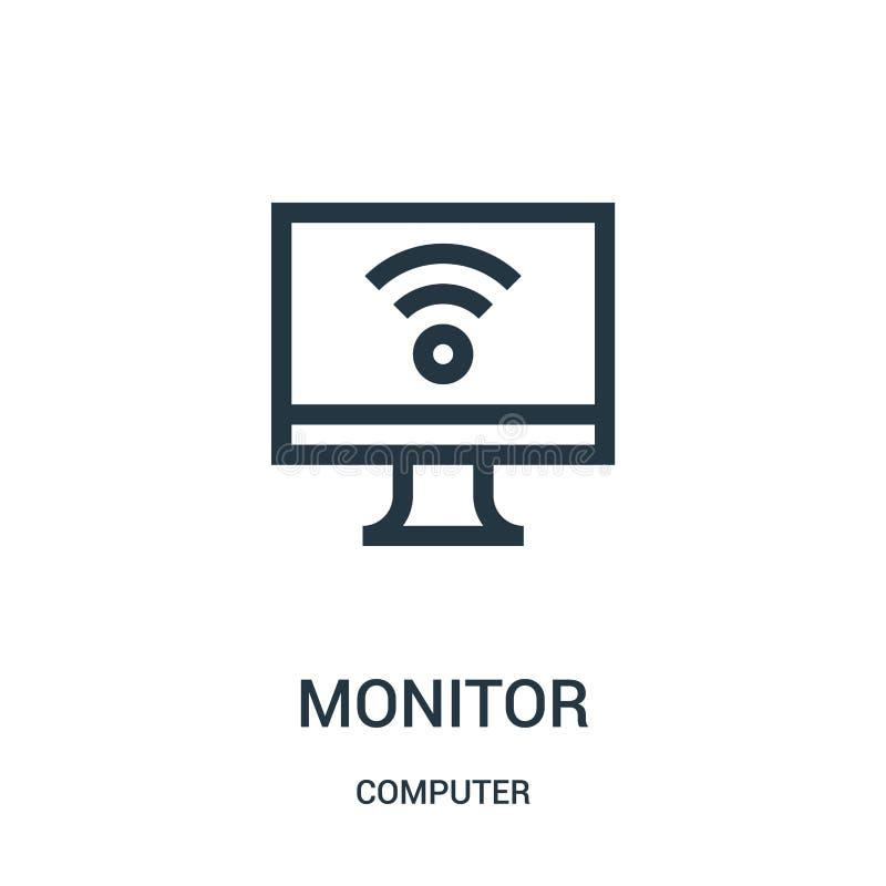 vector del icono del monitor de la colección del ordenador Línea fina ejemplo del vector del icono del esquema del controlador ilustración del vector