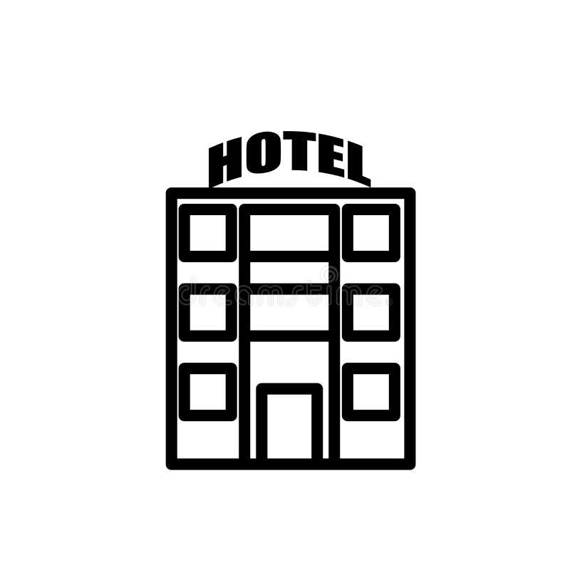 Vector del icono del motel aislado en el fondo blanco, la muestra del motel, la línea o la muestra linear, diseño del elemento en stock de ilustración
