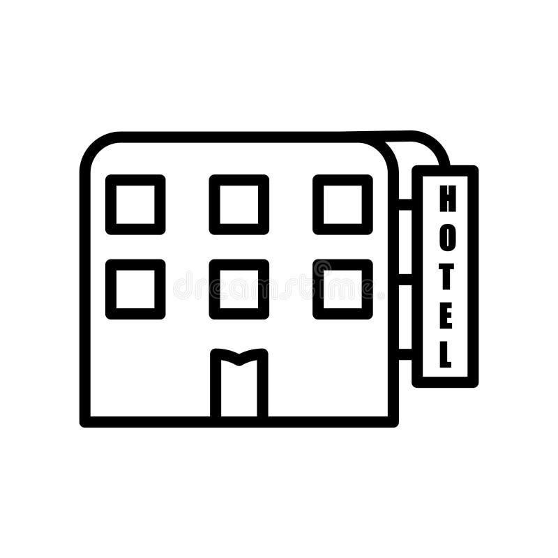 Vector del icono del motel aislado en el fondo blanco, la muestra del motel, la línea o la muestra linear, diseño del elemento en ilustración del vector