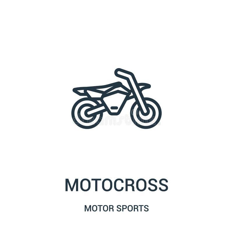 vector del icono del motocr?s de la colecci?n de los deportes de motor L?nea fina ejemplo del vector del icono del esquema del mo libre illustration