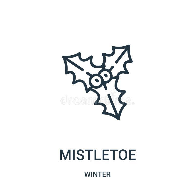 vector del icono del muérdago de la colección del invierno Línea fina ejemplo del vector del icono del esquema del muérdago Símbo stock de ilustración