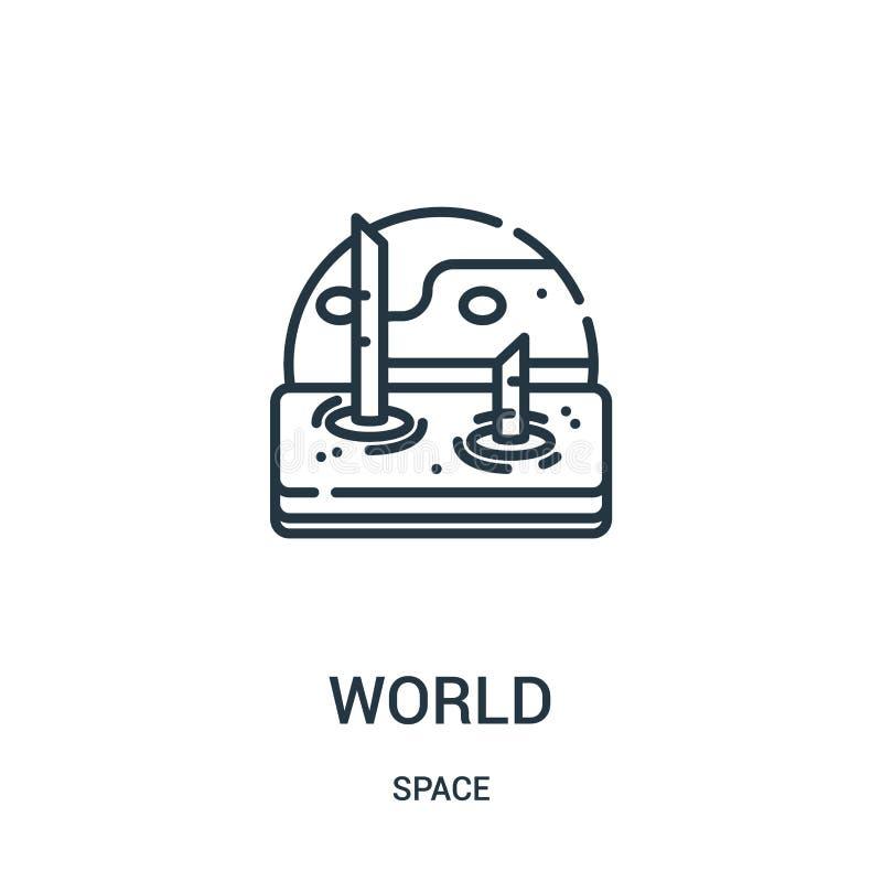 vector del icono del mundo de la colección del espacio L?nea fina ejemplo del vector del icono del esquema del mundo stock de ilustración