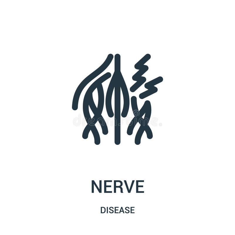 vector del icono del nervio de la colección de la enfermedad Línea fina ejemplo del vector del icono del esquema del nervio Símbo stock de ilustración