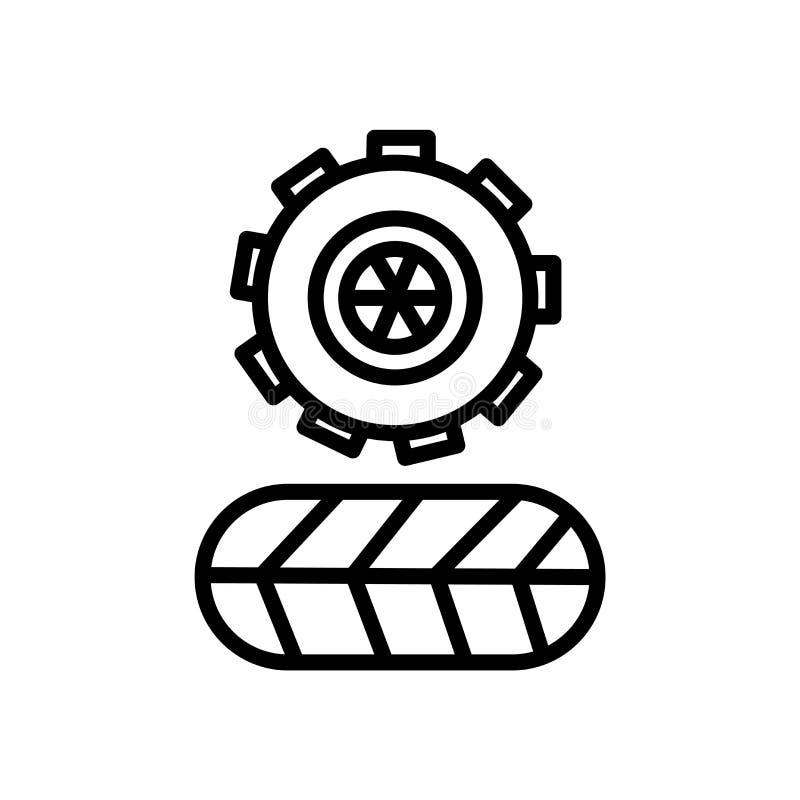 Vector del icono del neumático aislado en el fondo blanco, la muestra del neumático, el símbolo linear y elementos del diseño del ilustración del vector