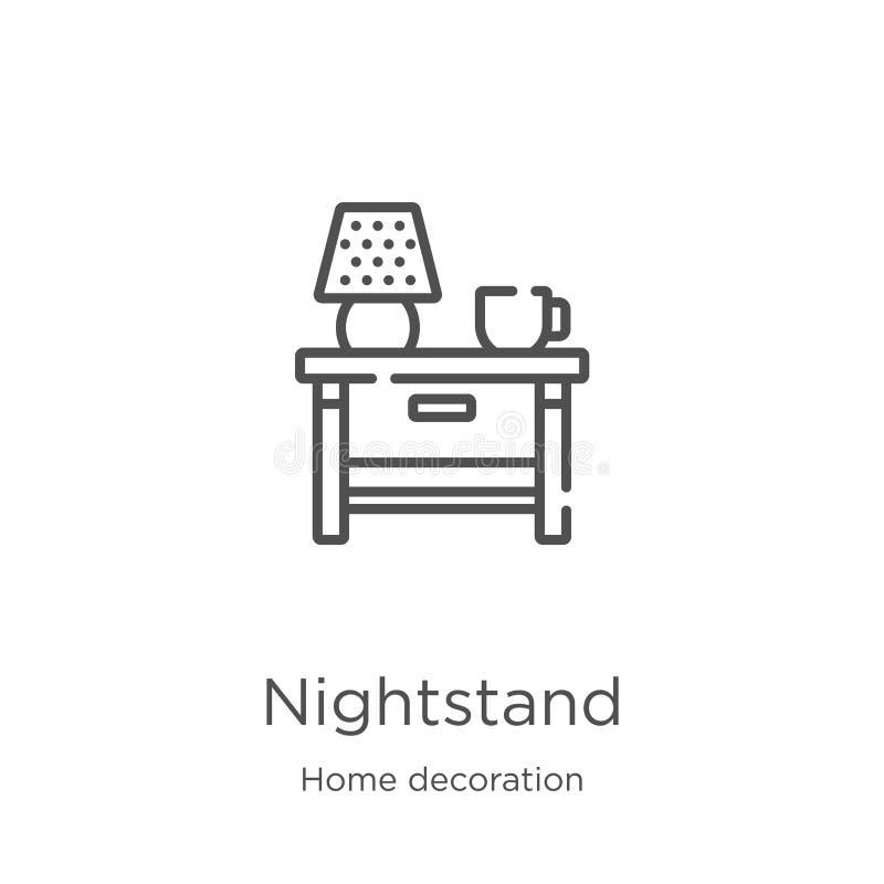 vector del icono del nightstand de la colección casera de la decoración Línea fina ejemplo del vector del icono del esquema del n libre illustration