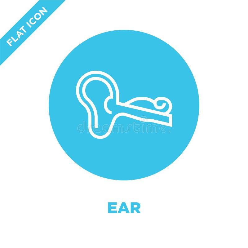 vector del icono del oído de la colección de los órganos humanos Línea fina ejemplo del vector del icono del esquema del oído Sím libre illustration