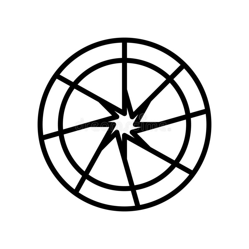 Vector del icono del obturador aislado en el fondo, la muestra del obturador, la línea y los elementos blancos del esquema en est stock de ilustración