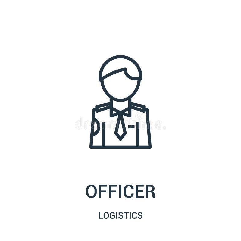 vector del icono del oficial de la colección de la logística Línea fina ejemplo del vector del icono del esquema del oficial Símb ilustración del vector