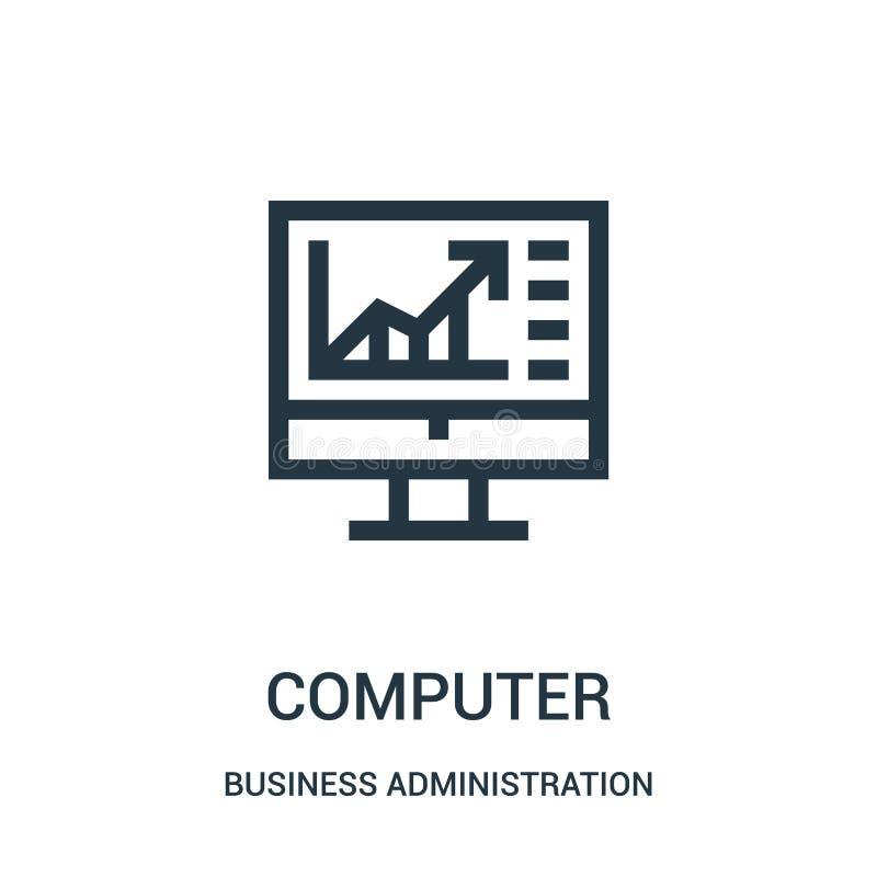 vector del icono del ordenador de la colección de la administración de empresas L?nea fina ejemplo del vector del icono del esque libre illustration