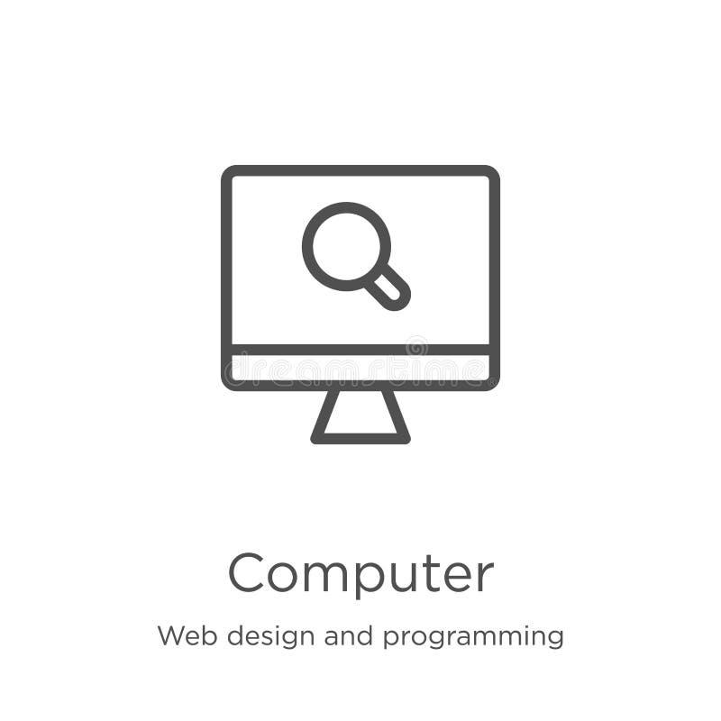 vector del icono del ordenador del diseño web y de la colección programada L?nea fina ejemplo del vector del icono del esquema de stock de ilustración