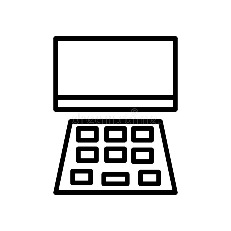Vector del icono del ordenador portátil aislado en el fondo, la muestra del ordenador portátil, la línea y los elementos blancos  ilustración del vector