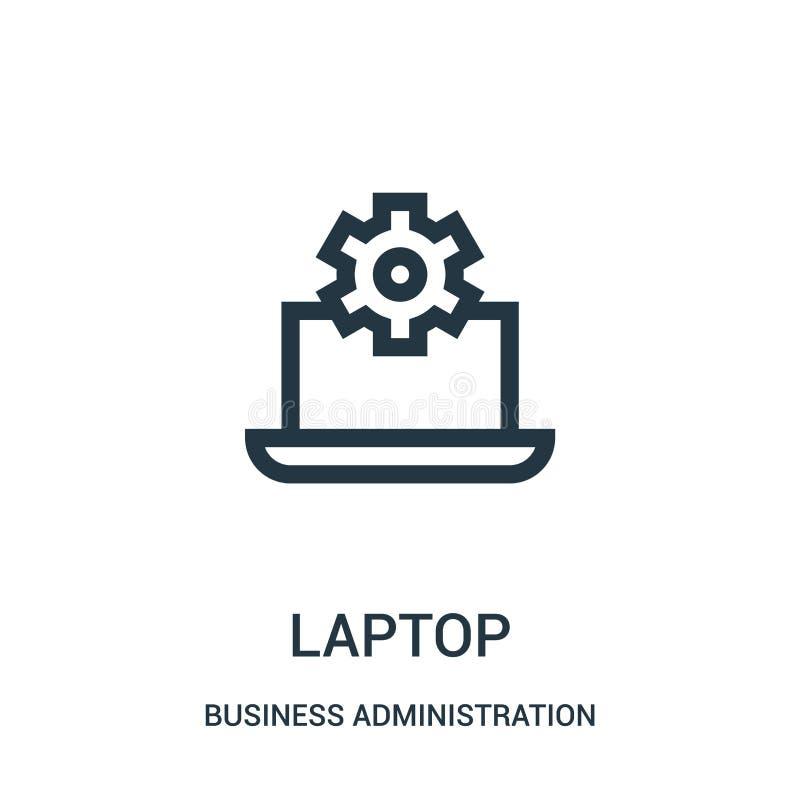 vector del icono del ordenador portátil de la colección de la administración de empresas L?nea fina ejemplo del vector del icono  ilustración del vector