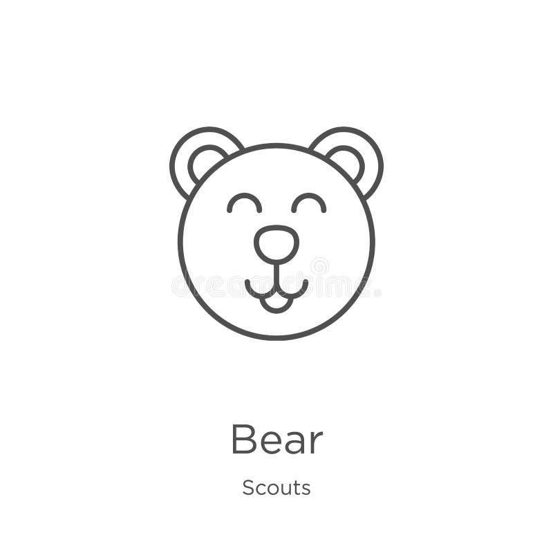 vector del icono del oso de la colección de los exploradores Línea fina ejemplo del vector del icono del esquema del oso Esquema, ilustración del vector