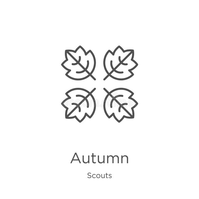 vector del icono del otoño de la colección de los exploradores L?nea fina ejemplo del vector del icono del esquema del oto?o Esqu libre illustration